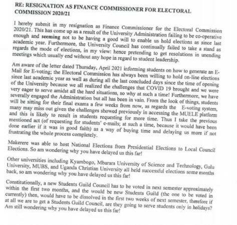 Makerere EC Finance Commissioner Resigns